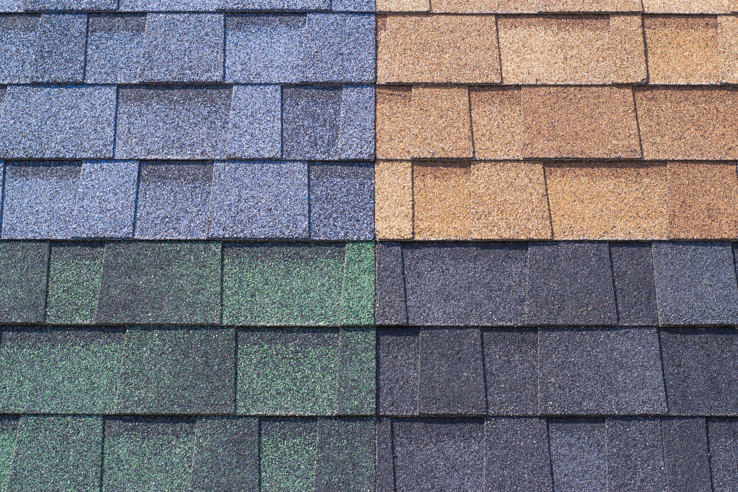 New roof shingles in different colors